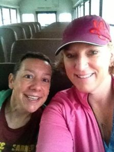 Amy and I on the bus to the start