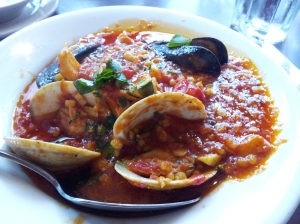 Pasta with clams, mussels, and cod in a spicy gravy.