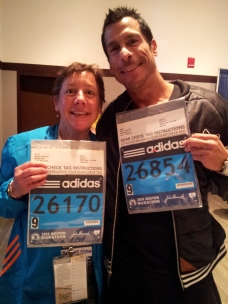 My brother Danny and I with our bibs. He rocked the race!