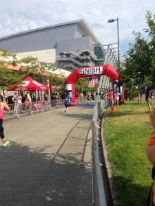 Me crossing the finish line. Thanks Jamie!