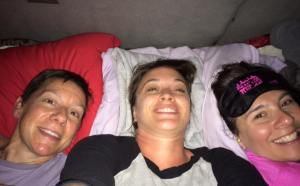 "Me, Jamie and Devri in ""bed"" for some sleep."